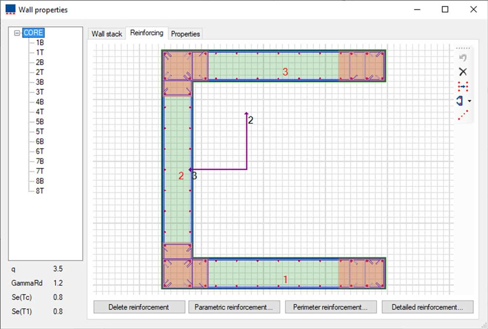 Sections and Reinforcing Wall Properties | VIS Concrete Design